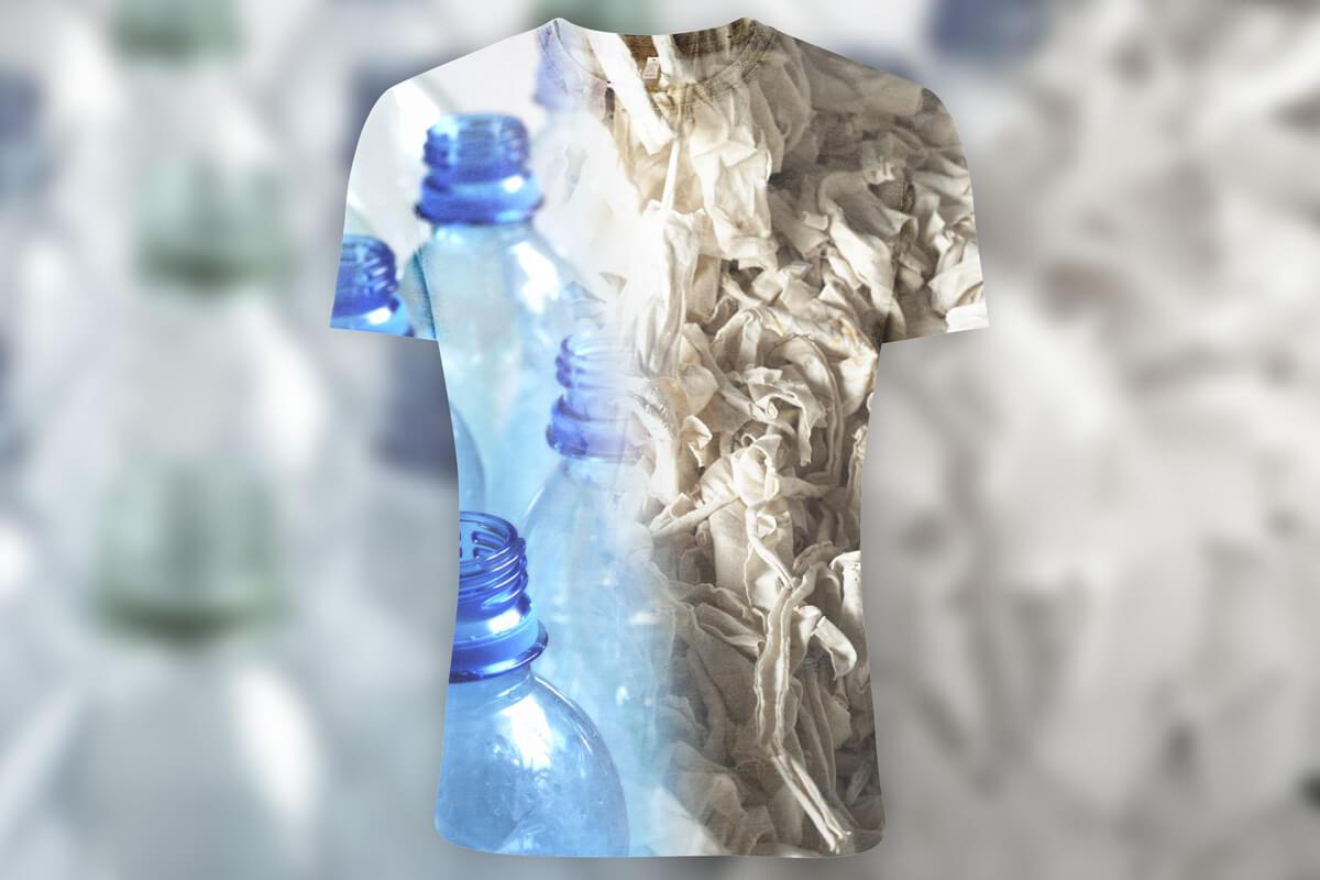 Salvage T-Shirt Plastikflschen Baumwollfasern