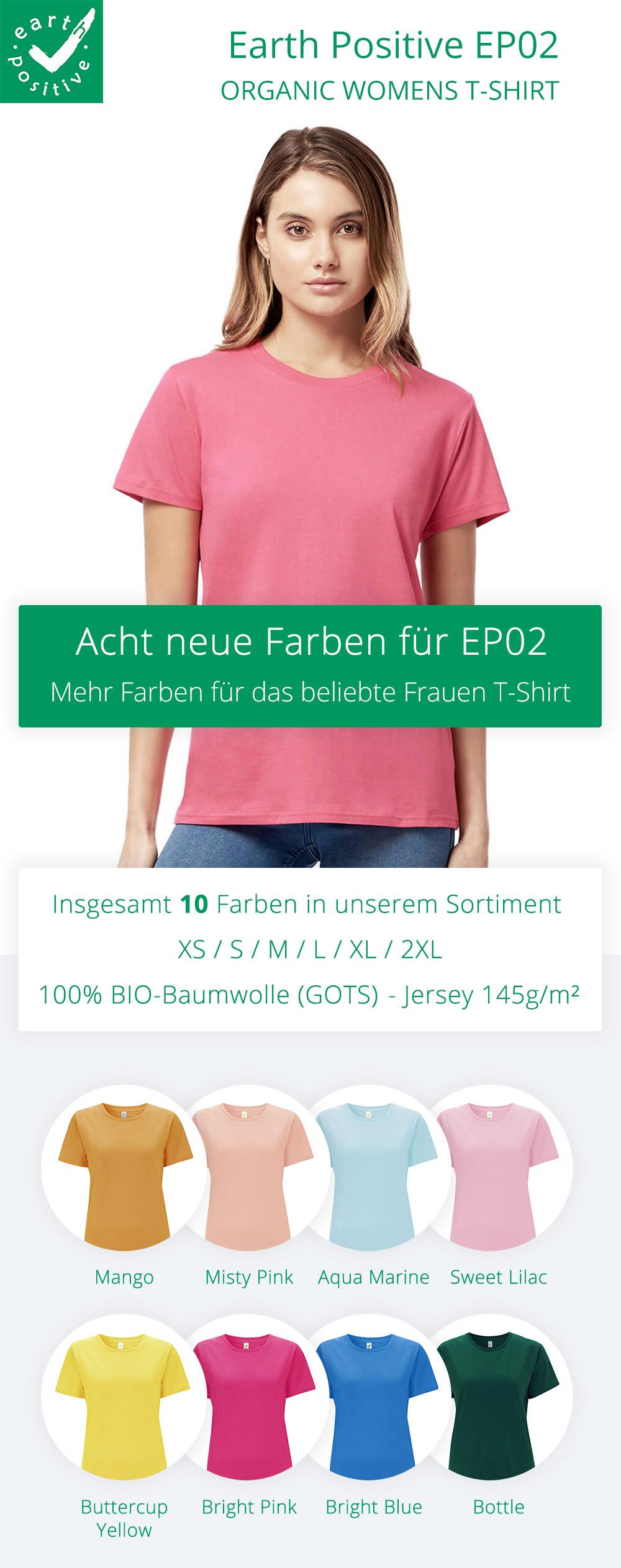 Acht neue Farben für das beliebte Frauen T-Shirt EP02